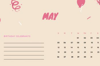 May 2019 Calendar Template colorful balloons confetti cute birthday Calendar