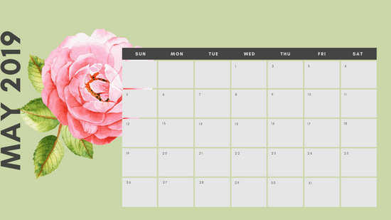 May 2019 Calendar Template multicoloured pastel flowers simple
