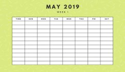 May 2019 Weekly Calendar Template yellow sprinkles and dots