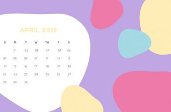 Monthly Calendar Template April 2019 pastel abstract shapes