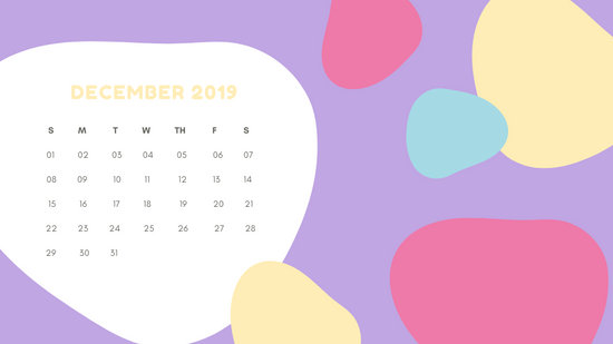 Monthly Calendar Template December 2019 pastel abstract shapes