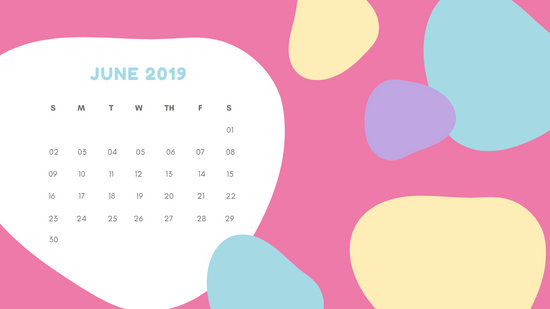Monthly Calendar Template June 2019 pastel abstract shapes