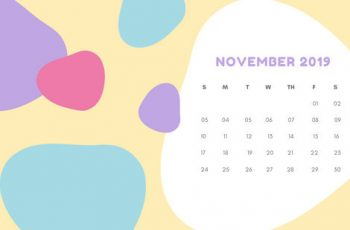 Monthly Calendar Template November 2019 pastel abstract shapes