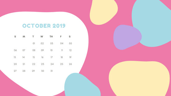 Monthly Calendar Template October 2019 pastel abstract shapes