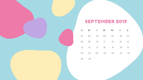 Monthly Calendar Template September 2019 pastel abstract shapes