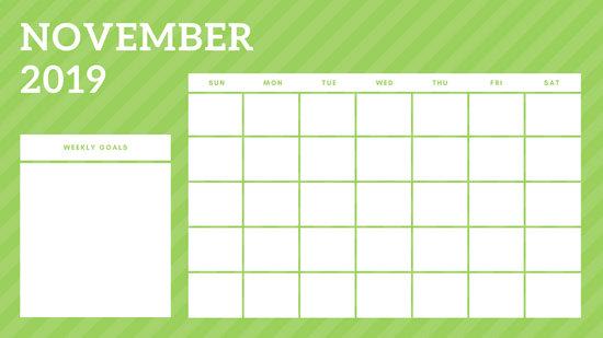 November 2019 Blank Calendar Template rainbow stripes Weekly