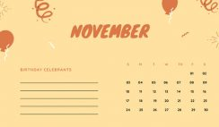 November 2019 Calendar Template colorful balloons confetti cute birthday Calendar