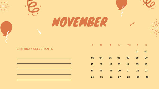 November 2019 Calendar Template colorful balloons confetti cute birthday Calendar
