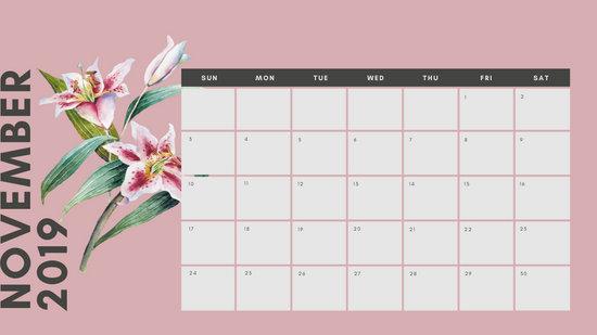 November 2019 Calendar Template multicoloured pastel flowers simple