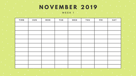 November 2019 Weekly Calendar Template yellow sprinkles and dots
