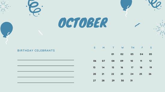 October 2019 Calendar Template colorful balloons confetti cute birthday Calendar