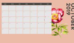 October 2019 Calendar Template multicoloured pastel flowers simple