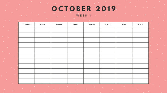 October 2019 Weekly Calendar Template yellow sprinkles and dots