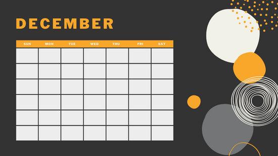 orange geometric pattern daily December Blank Calendar Template