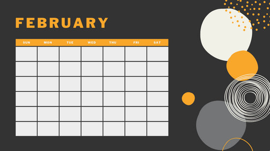 orange geometric pattern daily February Blank Calendar Template