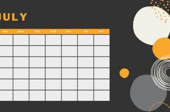 orange geometric pattern daily July Blank Calendar Template