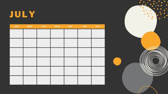 orange geometric pattern daily July Blank Calendar Template