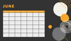 orange geometric pattern daily June Blank Calendar Template