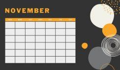 orange geometric pattern daily November Blank Calendar Template