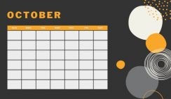 orange geometric pattern daily October Blank Calendar Template