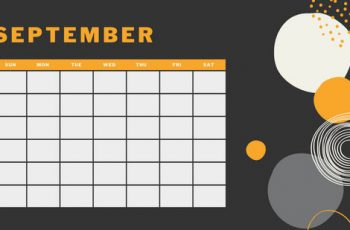 orange geometric pattern daily September Blank Calendar Template