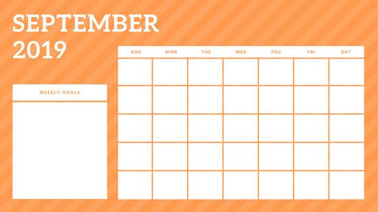 September 2019 Blank Calendar Template rainbow stripes Weekly