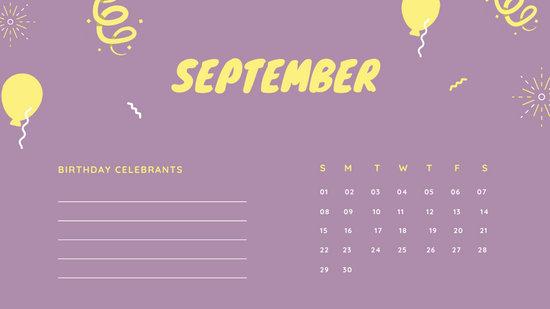 September 2019 Calendar Template colorful balloons confetti cute birthday Calendar