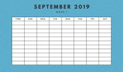 September 2019 Weekly Calendar Template yellow sprinkles and dots