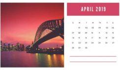 sunset colors Free April 2019 Photo Calendar Template