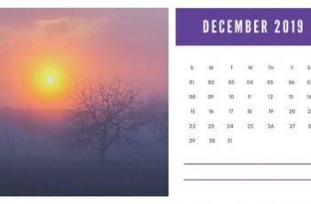 sunset colors Free December 2019 Photo Calendar Template