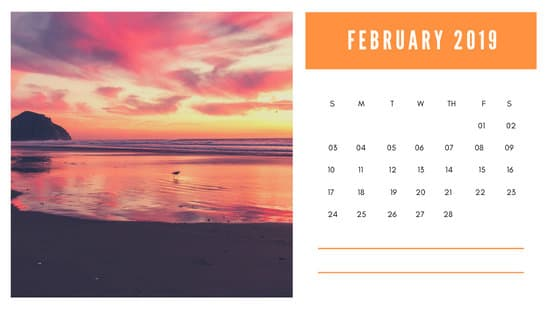 sunset colors Free February 2019 Photo Calendar Template
