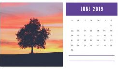 sunset colors Free June 2019 Photo Calendar Template