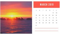 sunset colors Free March 2019 Photo Calendar Template
