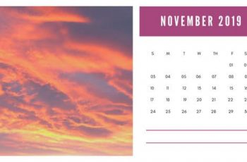 sunset colors Free November 2019 Photo Calendar Template