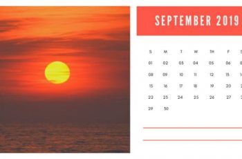 sunset colors Free September 2019 Photo Calendar Template