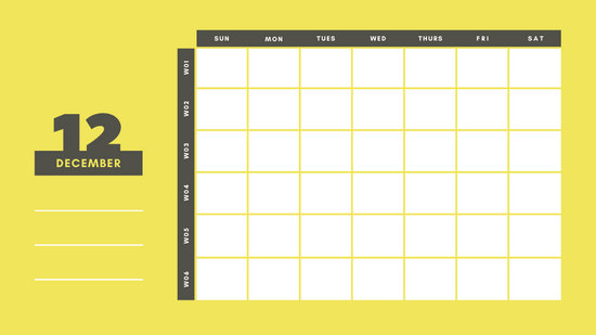 yellow and gray Weekly Blank Calendar Template December