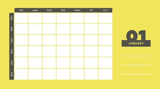 yellow and gray Weekly Blank Calendar Template January