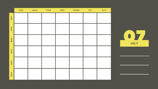 yellow and gray Weekly Blank Calendar Template July