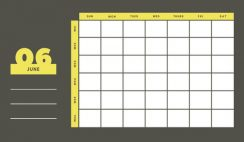 yellow and gray Weekly Blank Calendar Template June