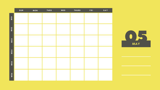 yellow and gray Weekly Blank Calendar Template May