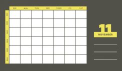 yellow and gray Weekly Blank Calendar Template November