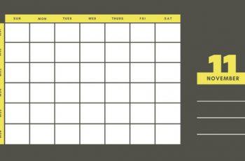 yellow and gray Weekly Blank Calendar Template November