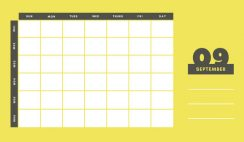 yellow and gray Weekly Blank Calendar Template September
