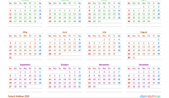 12 Month Printable Calendar 2020 with Holidays