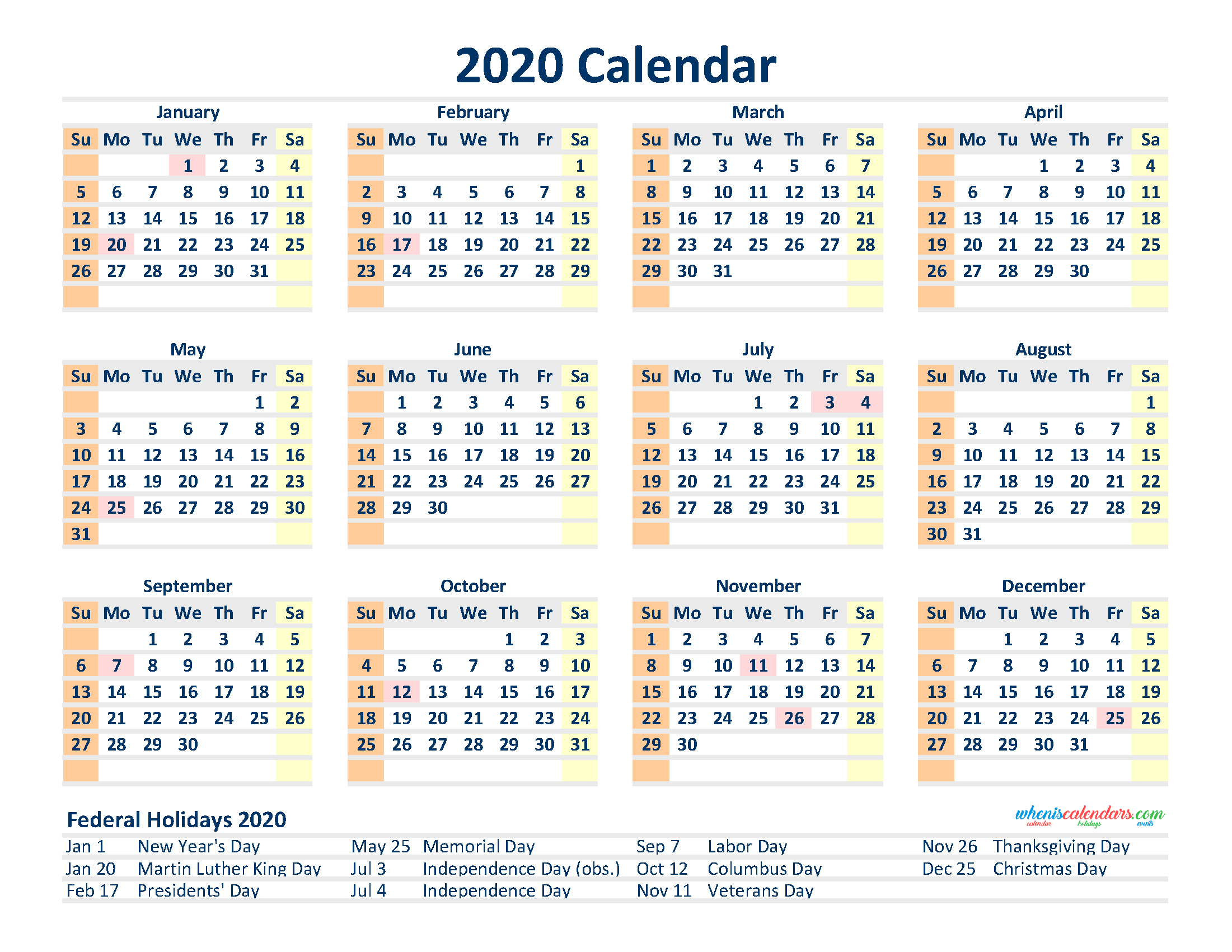 Printable 12 Month 2020 Calendar with Holidays