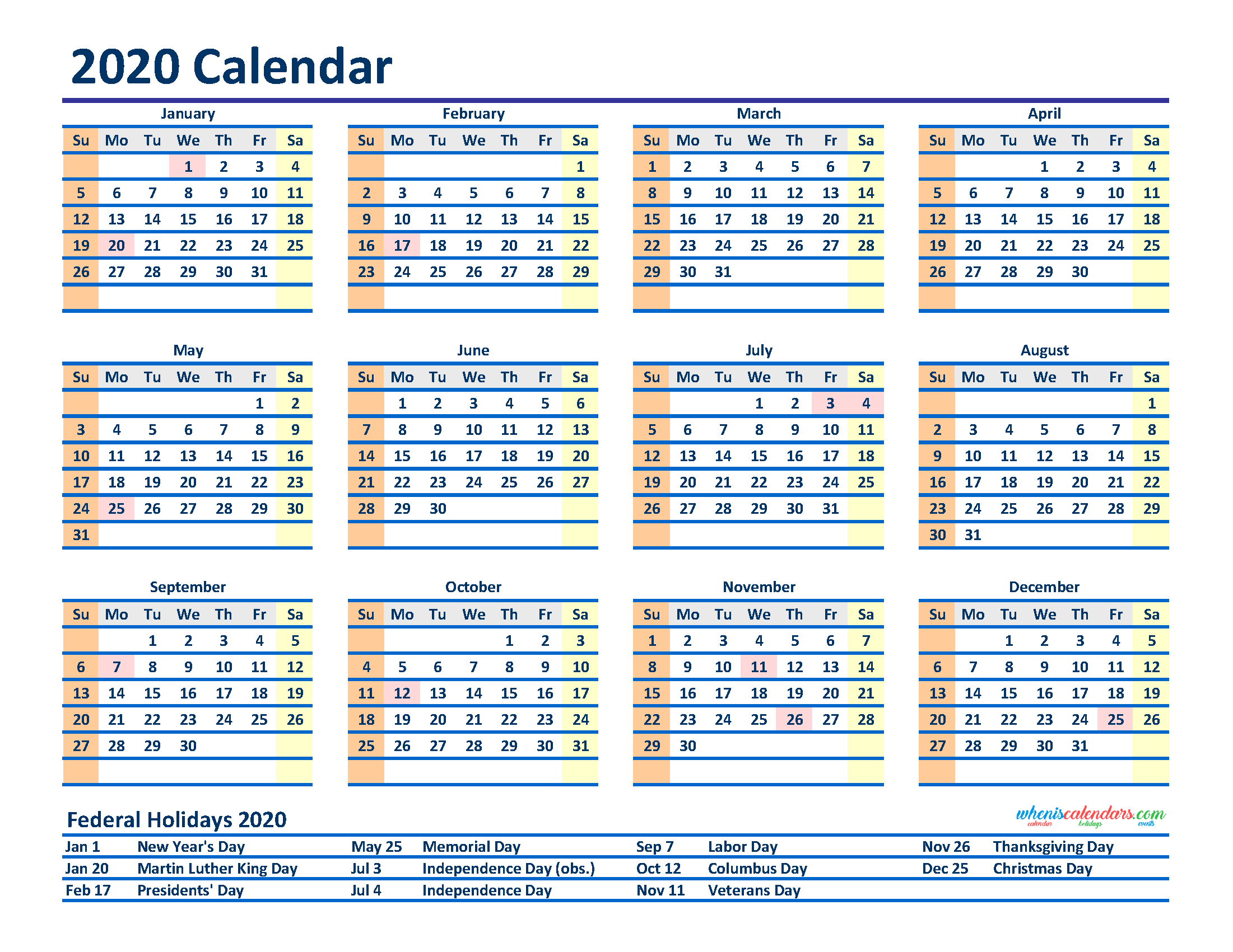 Free Printable 12 Month Calendar on One Oage 2020