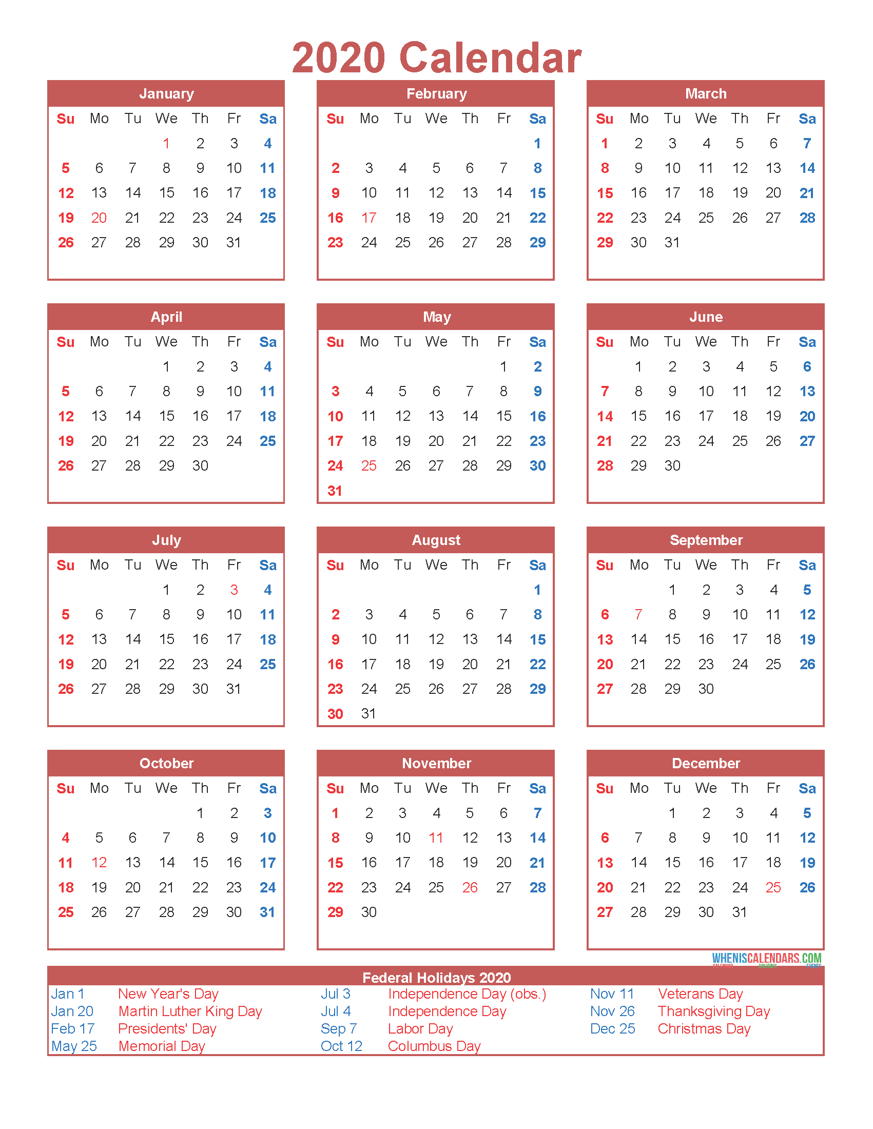 Free Printable 12 Month Calendar on One Page 2020 - Free ...