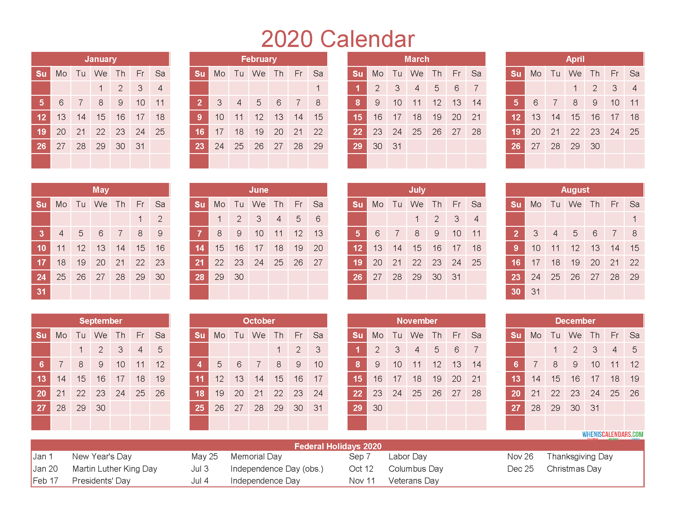 Free Printable 12 Month Calendar 2020 with Holidays