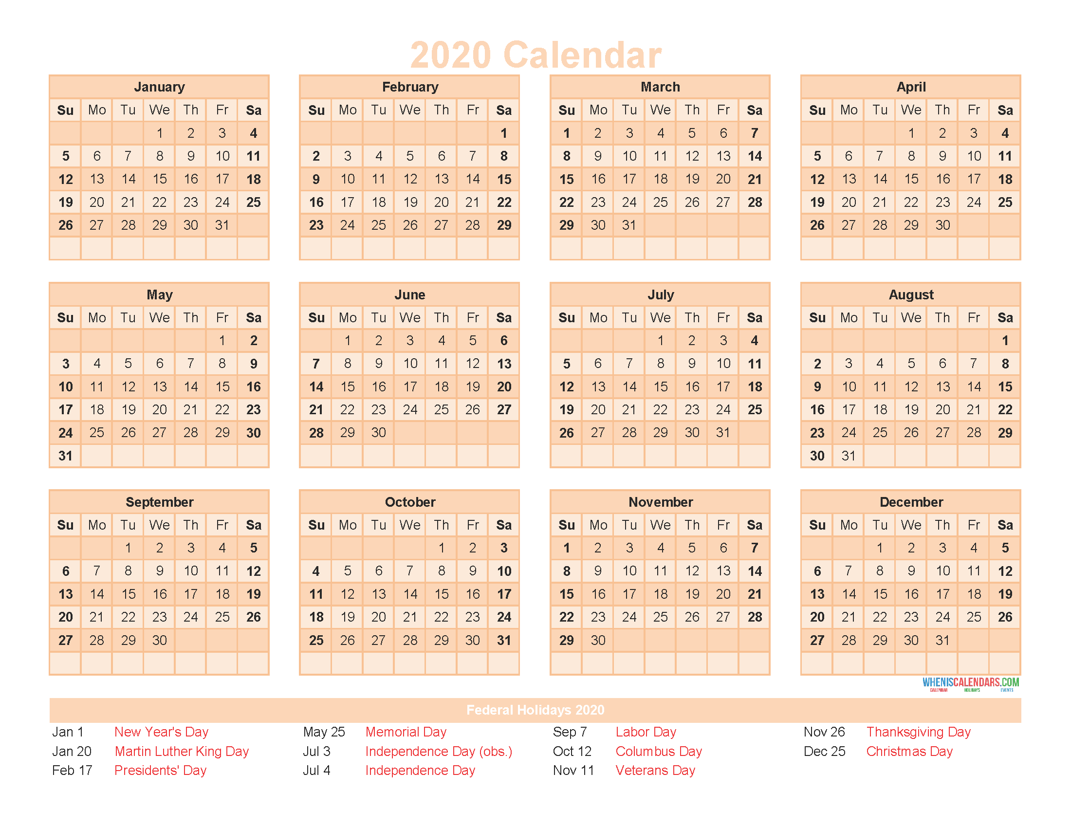 12 Month Calendar on One Page 2020 Printable PDF, Excel, Image