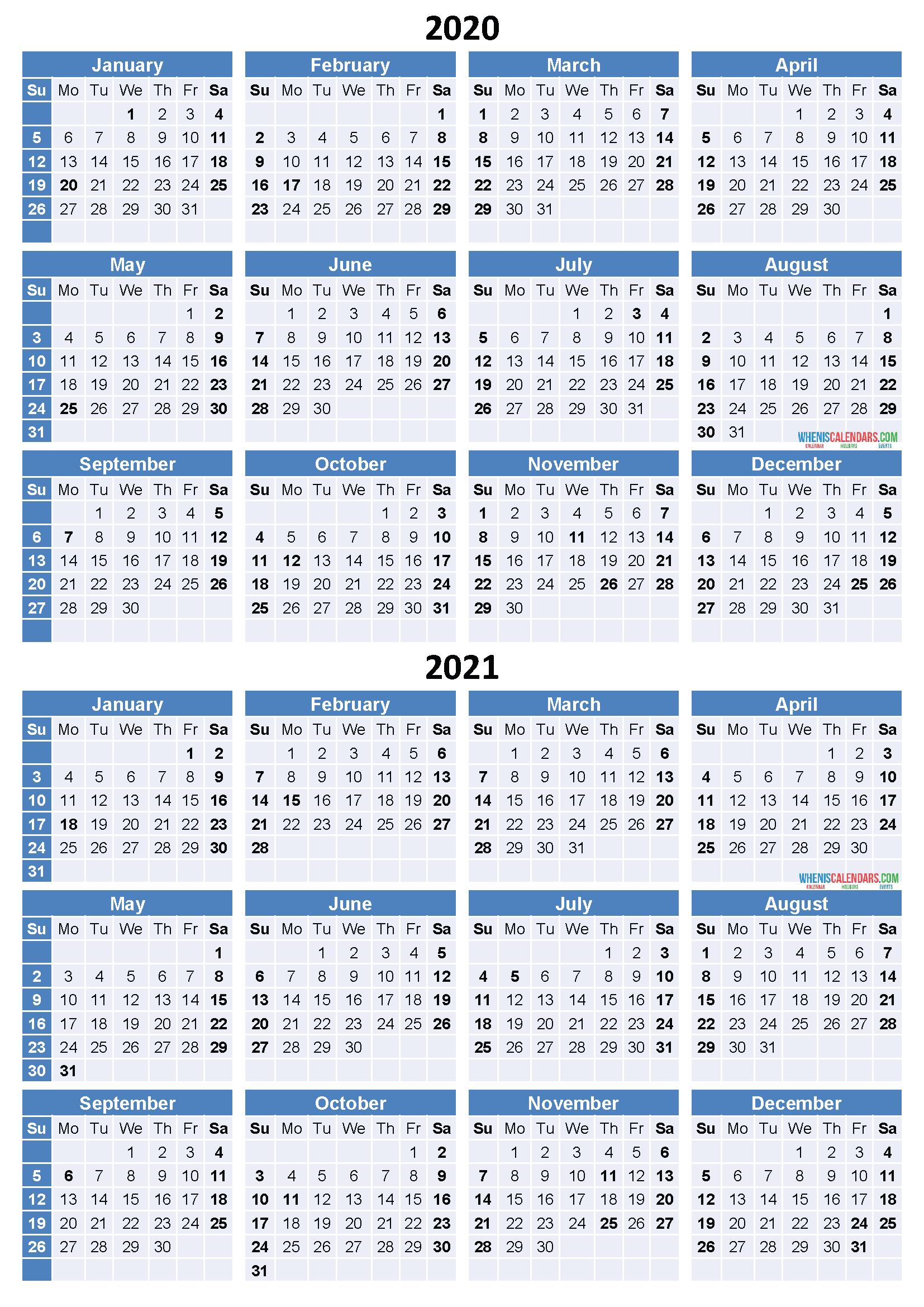 2020 and 2021 Calendar Printable Free Download Word, PDF ...